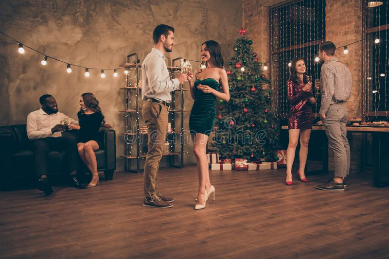 Portrait of charming couples hold champagne cheers give toast celebrate x-mas party christmas holidays in loft full of. Portrait of charming couples hold stock image
