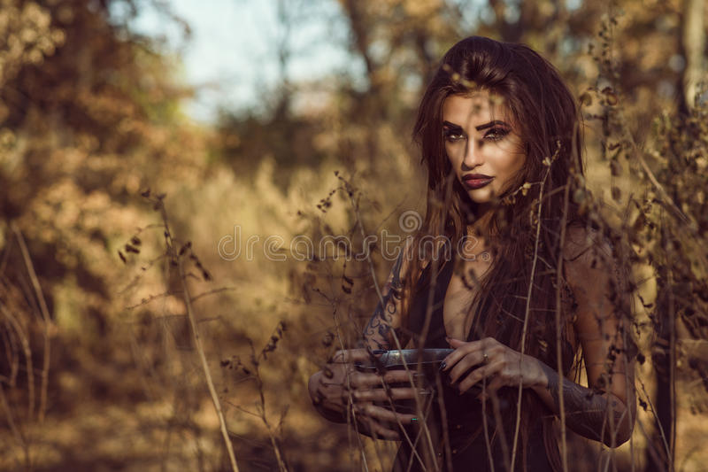 Portrait of charming dangerous young witch holding a pot with magic potion in the woods and looking straight with penetrating gaze stock image