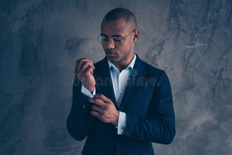 Portrait of charming handsome banker feel gentleman clever cool manager short ahir bald solve problems make strategy. Wear shirt fashionable blazer jacket royalty free stock images