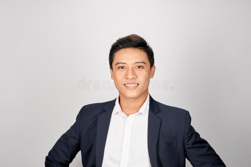 Portrait charming handsome young businessman. Attractive asian guy look confident royalty free stock photo