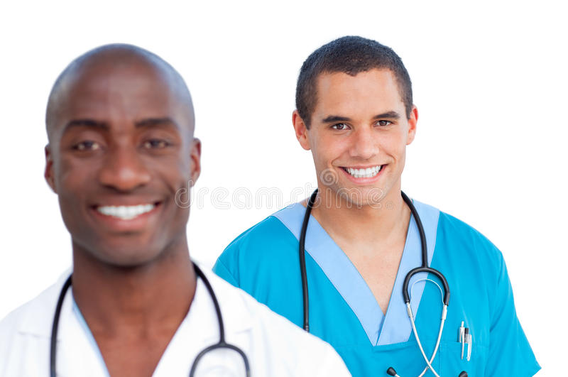 Portrait of charming male doctors royalty free stock photo