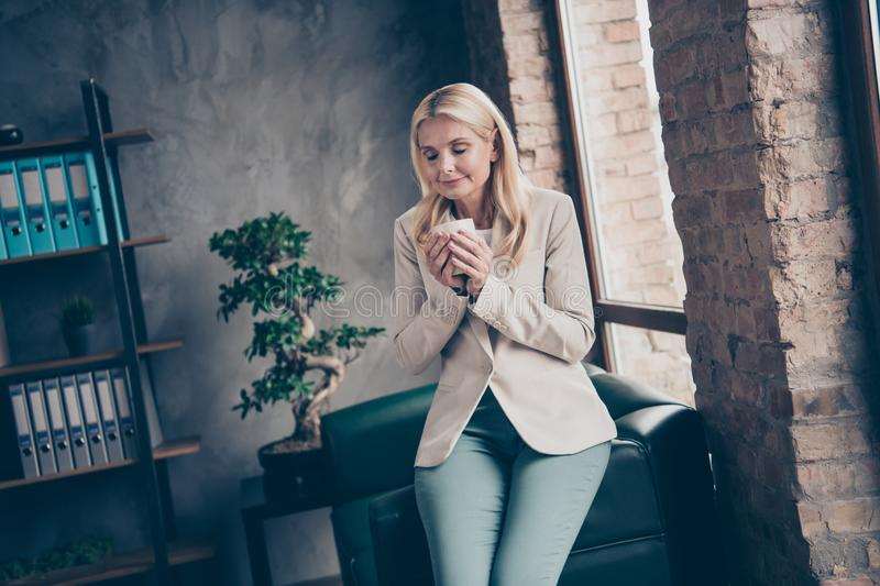Portrait of charming peaceful dreamy middle aged woman hold cup mug with coffee smell enjoy rest before hard start-up royalty free stock image