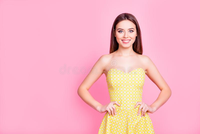 Portrait of charming pretty with beaming smile lady royalty free stock photo