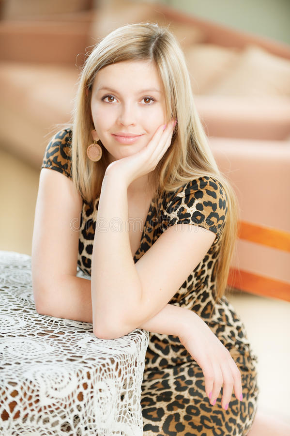 Portrait of charming young woman stock photo