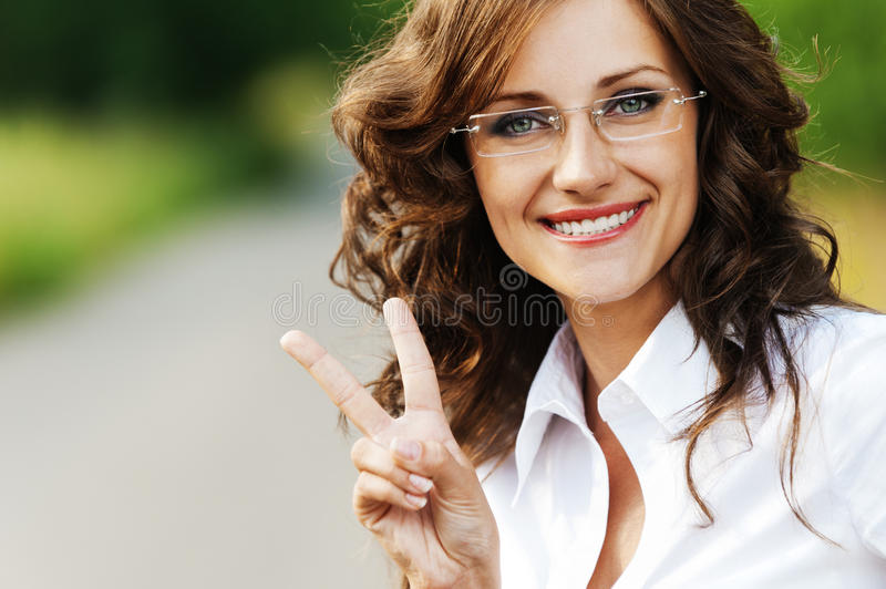 Download Portrait Charming Young Woman Stock Photo - Image of freedom, fingers: 21998920