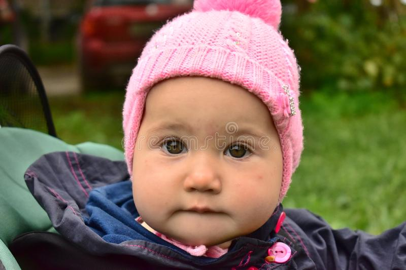 Portrait of a cheerful baby close-up stock photos
