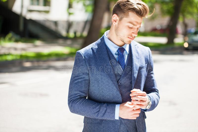 Portrait of a cheerful businessman royalty free stock photography