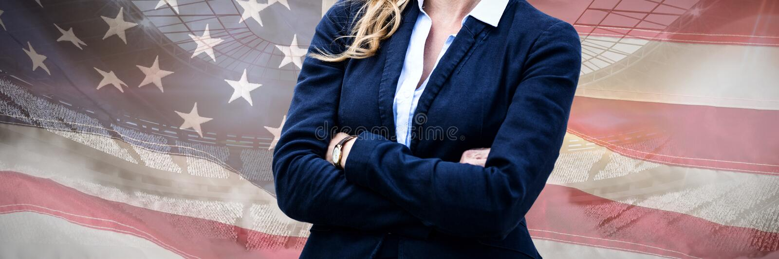 Composite image of portrait of cheerful businesswoman arms crossed stock photo