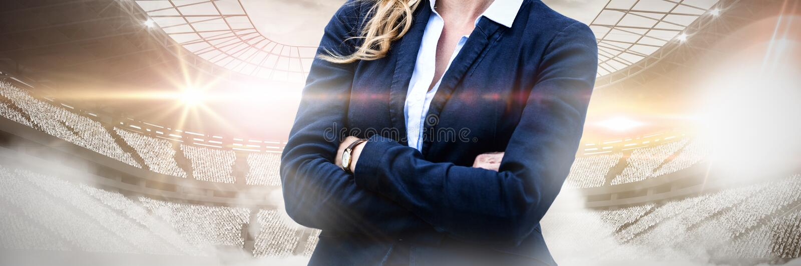 Composite image of portrait of cheerful businesswoman arms crossed stock photos
