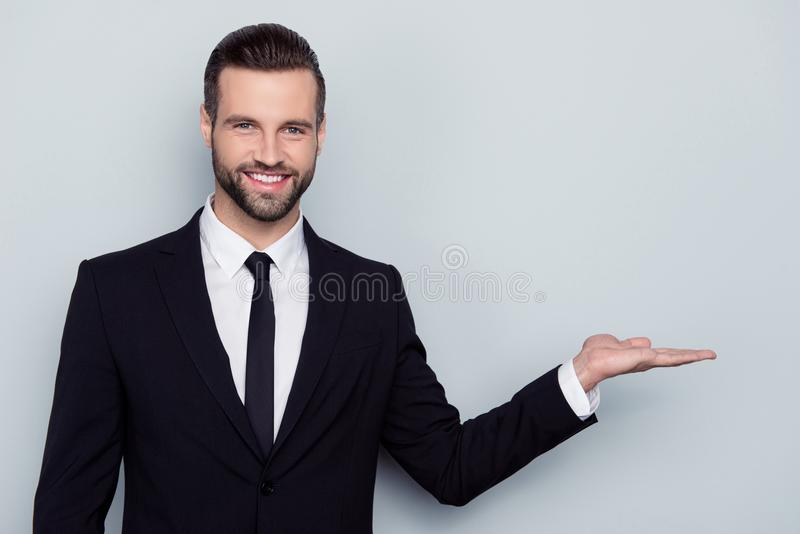 Portrait of cheerful confident satisfied excited smart intelligent assaistant expert intelligent toothy beaming trendy smile show stock photo
