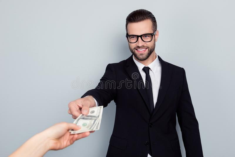 Portrait of cheerful excited smart confident focused salesman ag royalty free stock photos