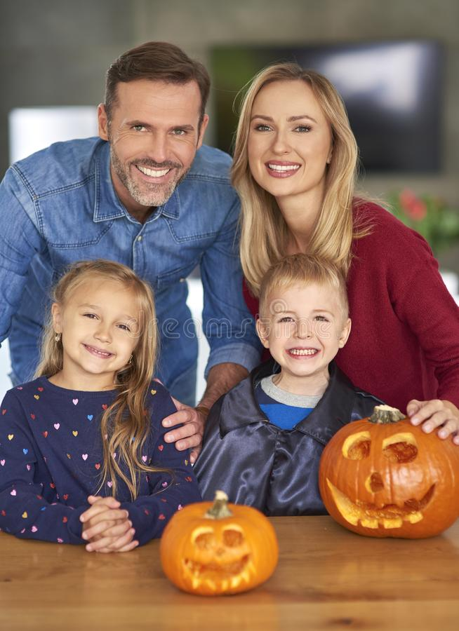 Portrait of family during Halloween stock photo