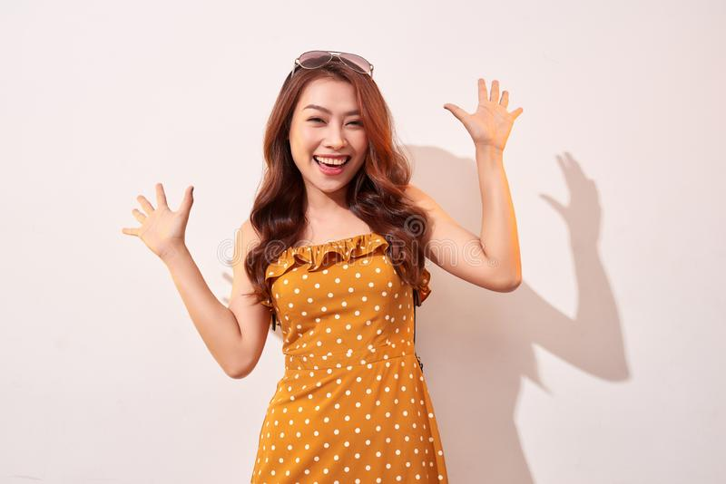 Portrait of cheerful fashion girl going crazy stock images