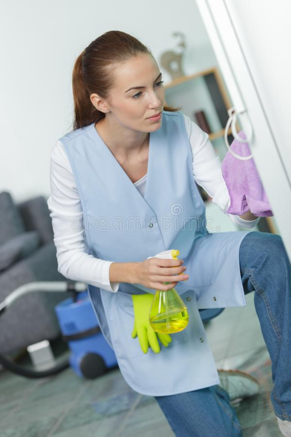 Portrait cheerful female cleaner royalty free stock photo