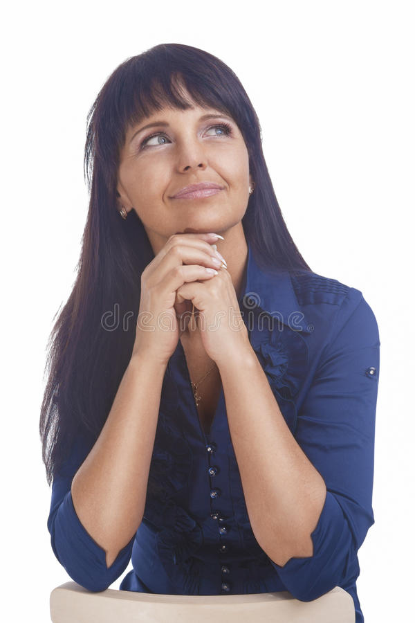 Portrait of a Cheerful Friendly Calm Brunette Woman Looking Up stock image