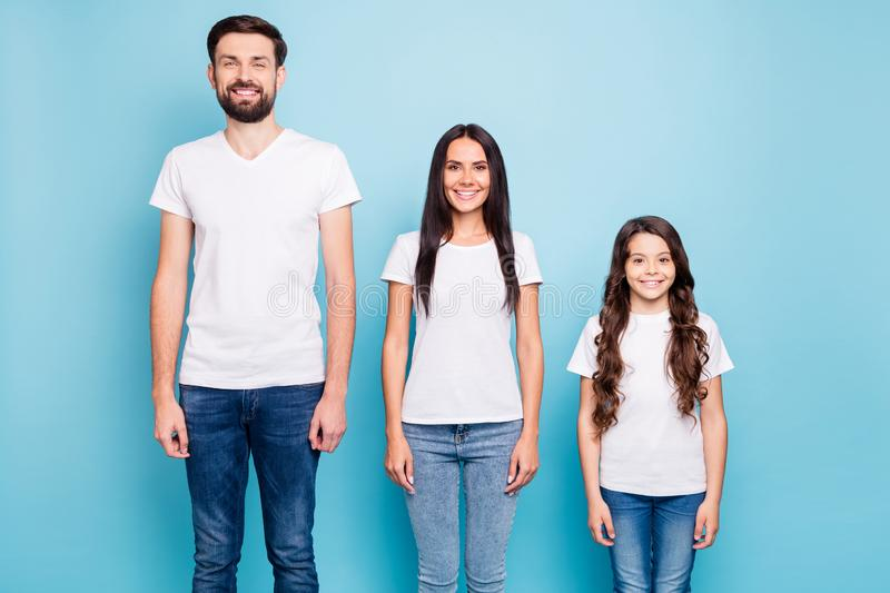Portrait of cheerful fun three people entrepreneurs ready to solve work problems wear white t-shirt denim jeans isolated stock photos