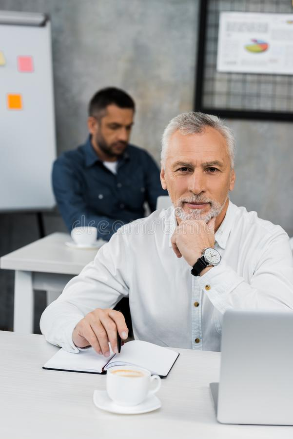 portrait of cheerful handsome mature businessman looking at camera royalty free stock image