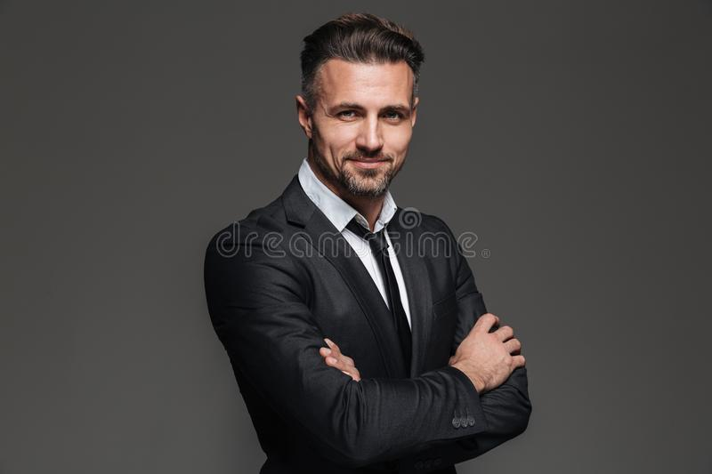 Portrait of a cheerful mature businessman stock photos