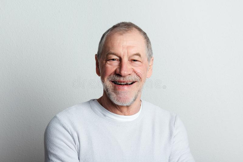 Portrait of a cheerful senior man with beard and mustache in a studio. stock photo