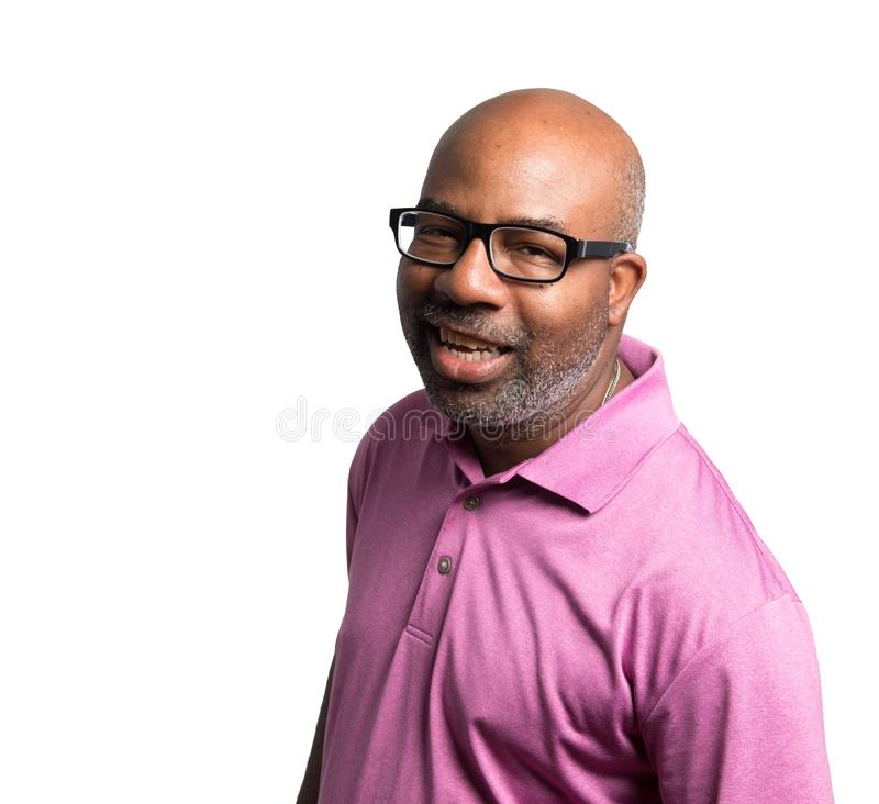 Portrait of a Cheerful smiling African American with purple shirt and black glasses on  white isolated background royalty free stock image