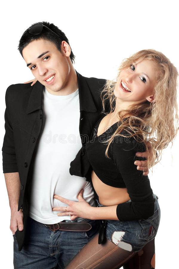 Download Portrait Of Cheerful Young Couple Stock Image - Image: 17523107