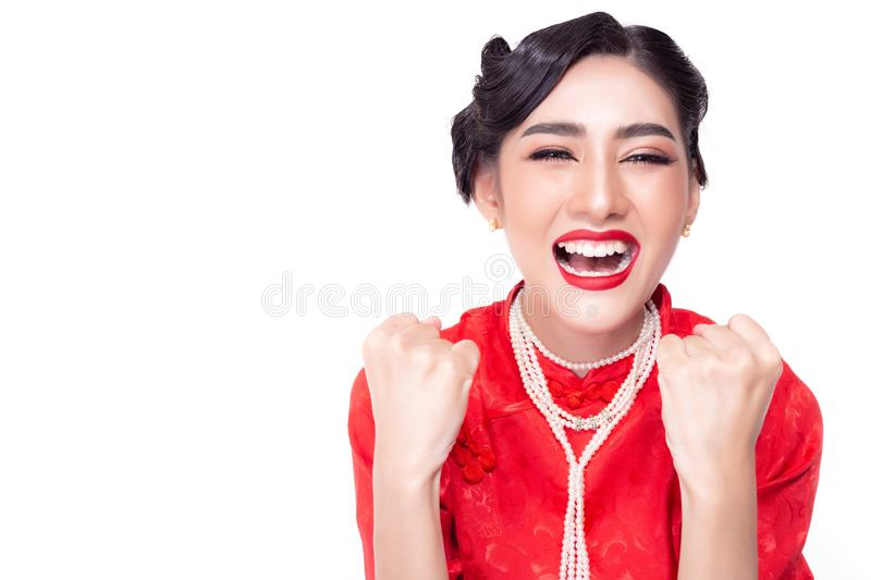 Portrait cheerful young woman. Beautiful asian woman gets happiness when gorgeous girl gets good news that she gets lucky or stock photos