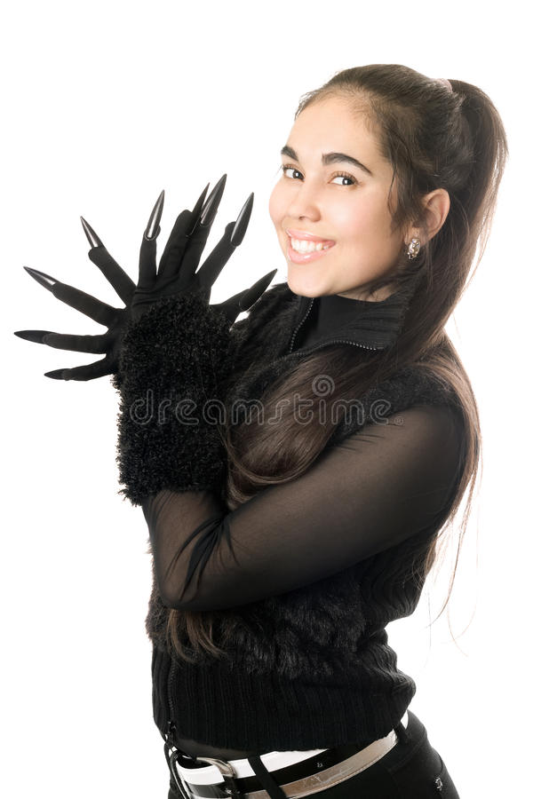 Portrait of cheerful young woman in gloves stock photos