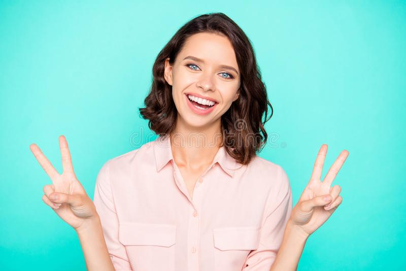 Portrait of cheery hilarious emotional cute beautiful charming g royalty free stock photography