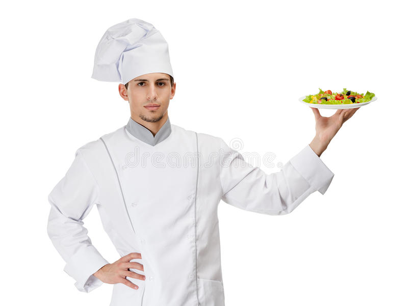 Portrait Of Chef Cook With Salad On The Plate Stock Photos