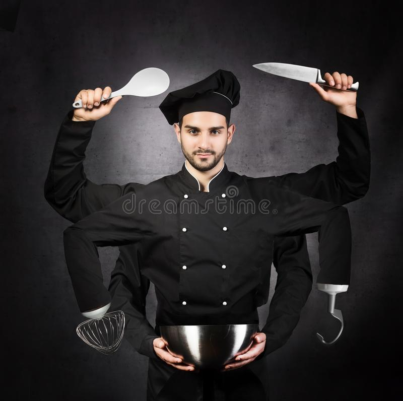 Portrait of a chef with many hands on gray background. Kitchen m stock photography