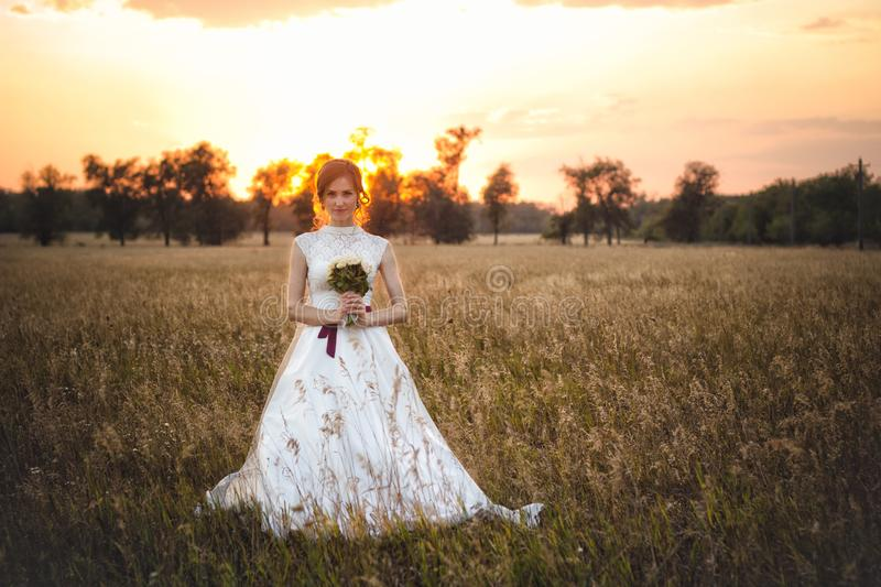 Portrait of a chic bride in a wedding dress standing at sunset in the field stock photo