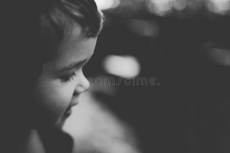 Portrait of child in black and white stock photos