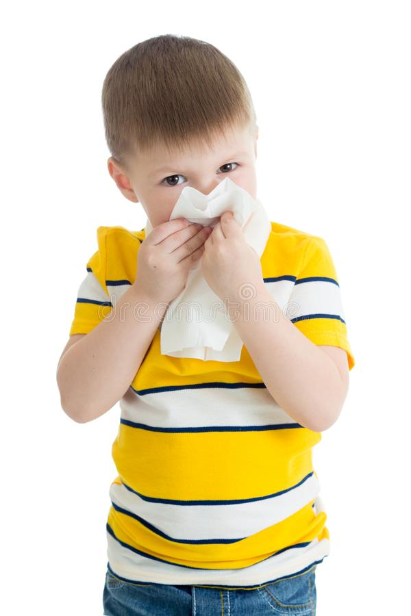Portrait of a child wiping his nose royalty free stock photos