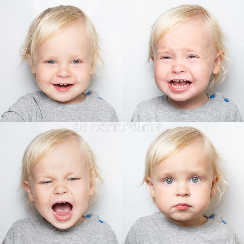Portrait of a child with different emotions - laughter, hysterical, crying, embarrassment. Baby mood change, collage, set.  stock photo