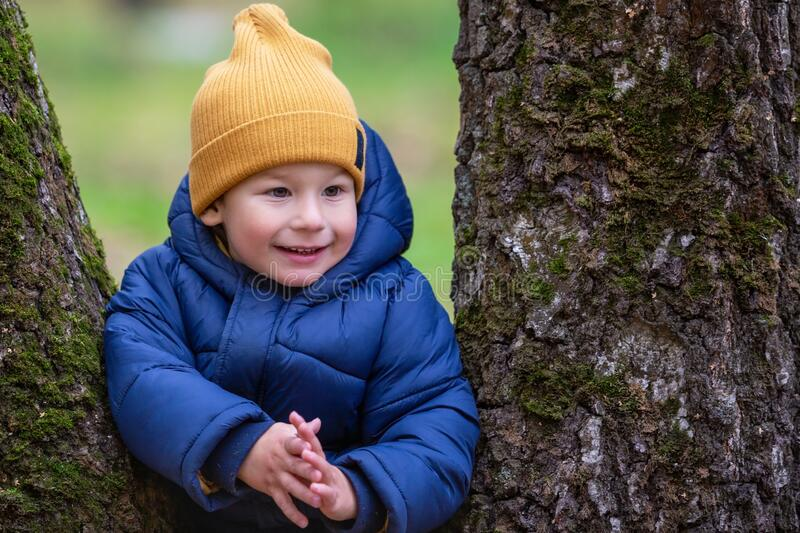 Portrait of a child outdoors. Happy little boy royalty free stock photography