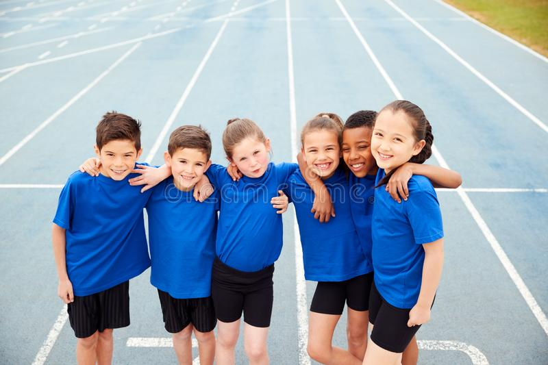 Portrait Of Children In Athletics Team On Track On Sports Day stock image