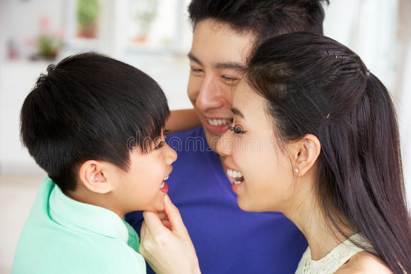 Portrait Of Chinese Family Together royalty free stock images