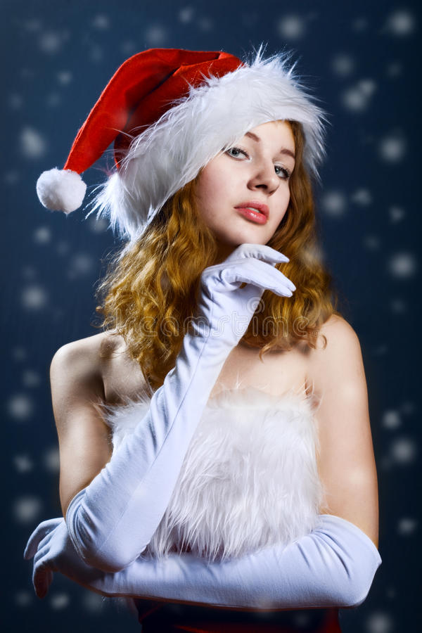 Portrait Of A  Christmas Woman Royalty Free Stock Image