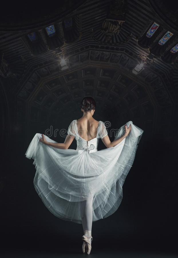 Portrait of the classical ballerina in white dress on black back. Portrait of the classical ballerina in white dress on the black abstract background royalty free stock images