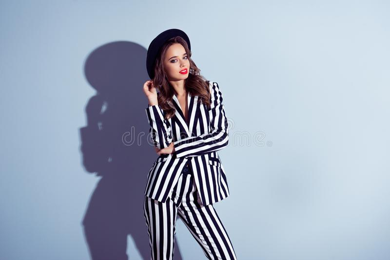 Portrait of classy beautiful gorgeous stunning girlish feminine royalty free stock photography