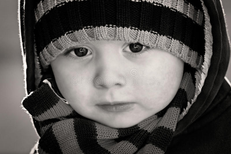 Download Portrait Close Up Of Boy In Black And White Stock Image - Image: 28593289