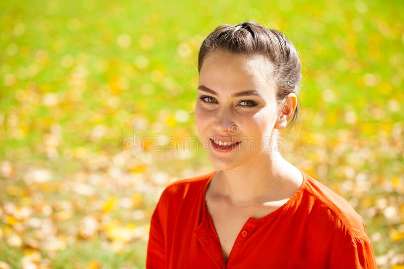 Portrait close up of young beautiful brunette woman royalty free stock photo