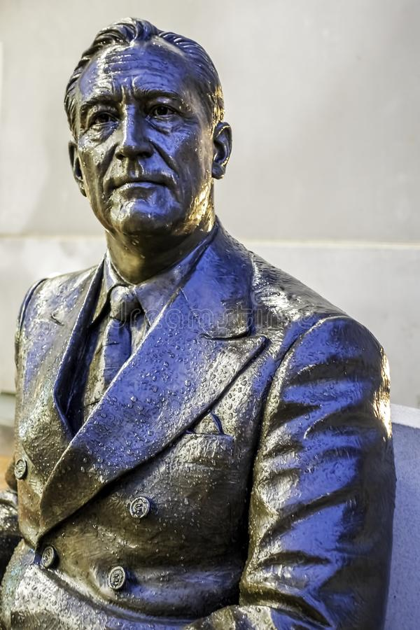 Portrait in close view of a statue of President Franklin Delano Roosevelt royalty free stock photography