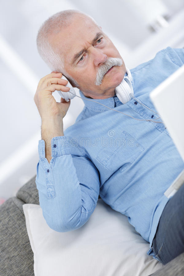 Portrait closeup on man at phone royalty free stock photography
