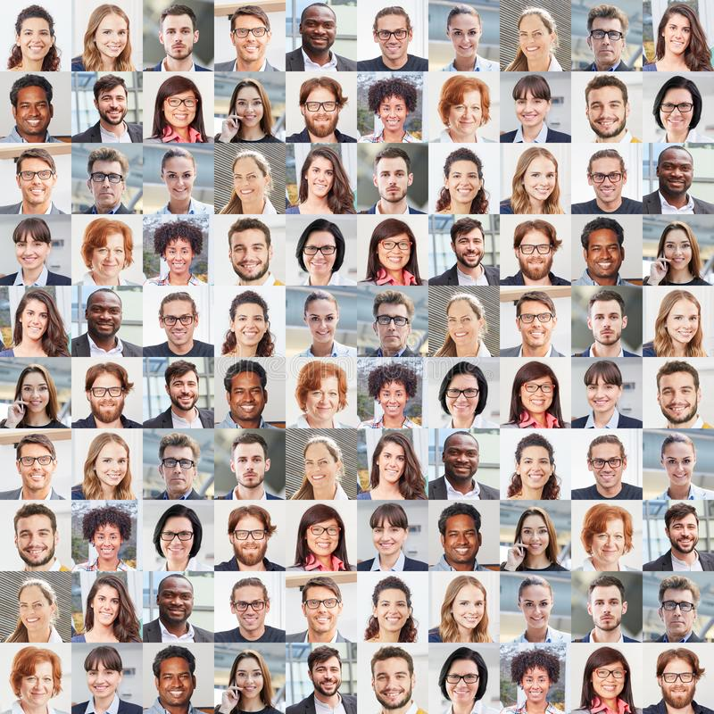 Portrait collage of business people as a team Concept royalty free stock photography