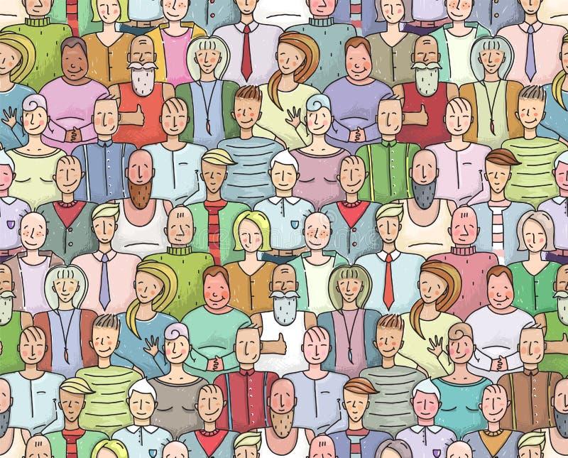 Portrait collectif de sourire de foule de personnes sans couture illustration stock
