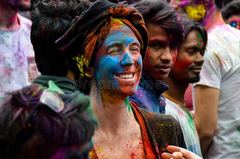 Holi festival in Pokhara royalty free stock photo