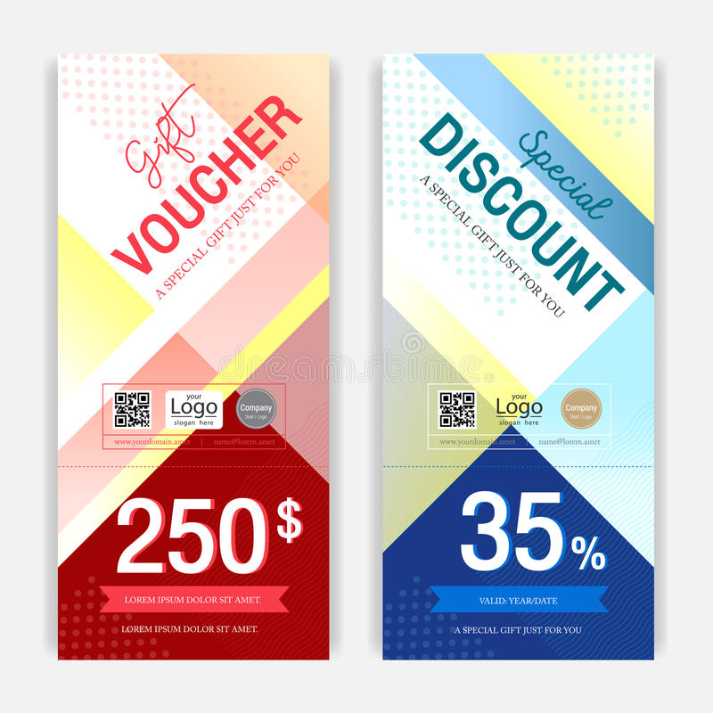 Portrait colorful and modern discount voucher or gift voucher for promo event stock illustration