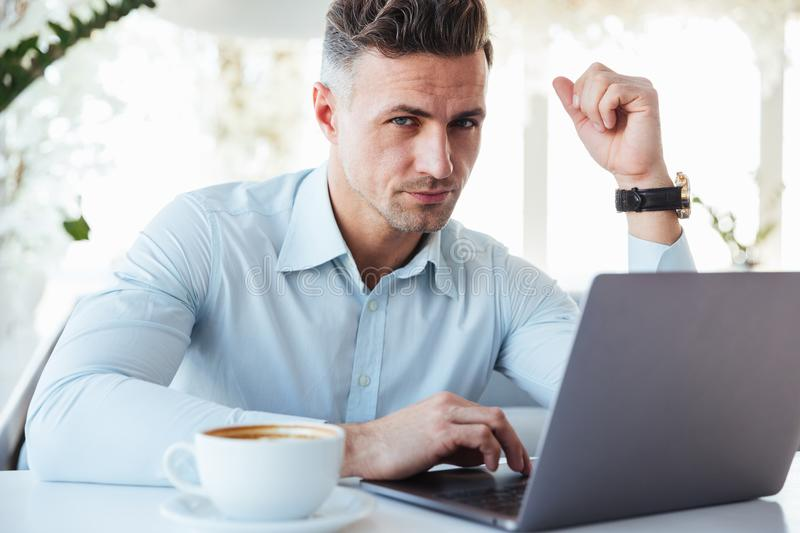 Portrait of a concentrated mature man stock photo