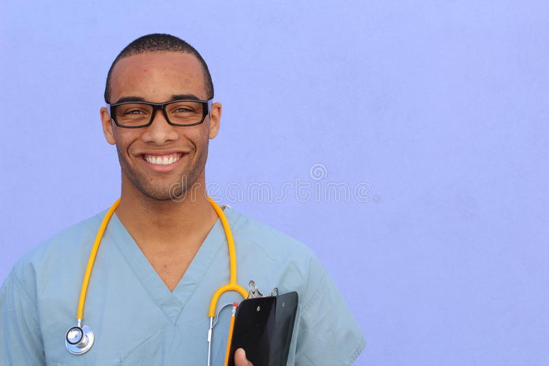 Portrait confident African American male doctor medical professional writing patient notes isolated on hospital clinic. Positive royalty free stock image